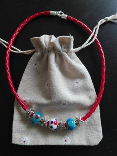 Navy Necklace in red with blue white and red glass beads and