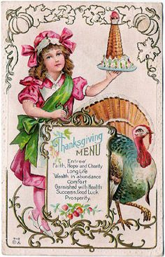 Children's Thanksgiving Menu Lots Of Gold,Turkey Next To Menu,Junior Chef Carrying Dessert,Heavily Embossed Antique Postcard Thanksgiving Greeting Cards, Vintage Thanksgiving, Thanksgiving Menu, Vintage Holiday, Vintage Halloween, Fall Halloween, Holiday Cards, Thanksgiving Graphics, Thanksgiving Blessings