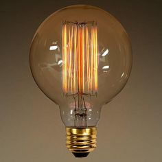 Perfect for any vintage or industrial light!! Or even just by itself!Globe Style - 40 WattAntique Vintage Light Bulb - 3.75 in. Diameter - Hand-Wound Loop Threa