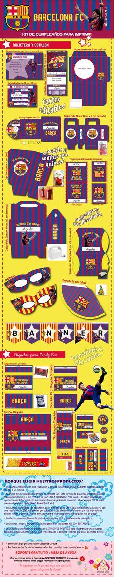 Kit de cumpleaños para imprimir Barcelona F.C.