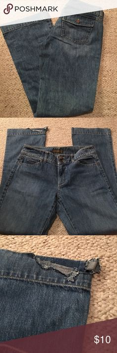 """Eddie Bauer jeans Eddie Bauer jeans. Wide leg with slight flare. Excellent condition except for the fraying on the bottom right hem. 9"""" rise with 31"""" inseam. Eddie Bauer Jeans Flare & Wide Leg"""