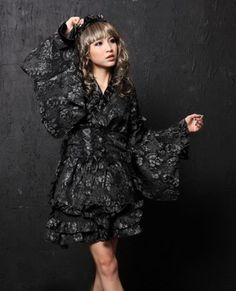 Punk Silver Cotton Blend Lolita Kimono