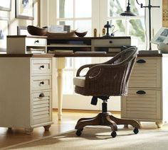 balance of cream and wood works well with a room with wood trim. Whitney Desk from Pottery Barn