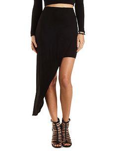Asymmetrical High-Low Skirt: Charlotte Russe