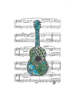 Zentangle Inspired Guitar by Leopardtude on Etsy, $6.50