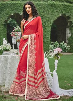 Buy Hot Pink Georgette Saree Online