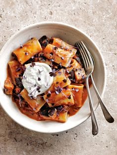 creamy tomato, burrata and eggplant pasta from donna hay magazine Fast issue #88