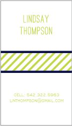 Easy Business Card Option & Super Cute.  Green, Navy, Pinstripes via http://www.paperinkdesigns.com/collections/calling-cards