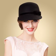 Aliexpress.com   Buy FS 100% Australian Wool Felt Hat Black Bowler Womens  Wide Brim Fedoras Ladies Bow Kentucky Derby Party Church Hats Chapeau Femme  from ... 28dc6965d7a