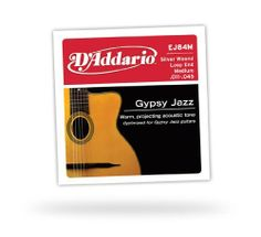 "D'Addario EJ84M Gypsy Jazz Acoustic Guitar Strings, Loop End, Medium, 11-45 by D'Addario. $7.99. EJ84M loop end gypsy jazz acoustic guitar strings are designed and gauged for rhythm and strumming patterns associated with ""Django"", jazz-style guitar. D'Addario Gypsy Jazz strings are specially designed for the ""Django"" style. Silver-plated Copper is wound on a high carbon steel core, delivering a warm, projecting tone optimal for any Gypsy Jazz style guitar.D'Addario, the world's l..."