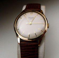 Vintage majex 15 Joya De Oro Rosa Plateado Viento Manual Caballeros Reloj Años 60