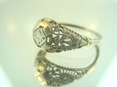 Vintage Art Deco Diamond Filigree Ring 18kt White Gold #vintage #artdeco