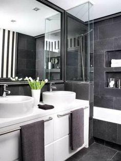 cooles badezimmer einrichten - schwarz, weiß und grau