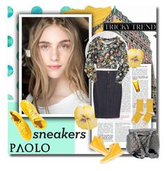 """Yellow sneakers - Paoloshoes.com"" by paoloshoes ❤ liked on Polyvore featuring Christian Dior, Paolo Shoes, Burberry, Moschino, Hansel from Basel and Clarins"