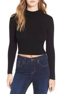 Free shipping and returns on ASTR 'Nellie' Crop Mock Neck Sweater at Nordstrom.com. Fine ribbing elevates the figure-hugging silhouette of a long-sleeve sweater cut with a trendy mock neck and belly-baring cropped hem. Pair this sassy piece with your favorite high-rise styles to transition your look as the temp cools.