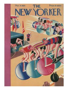 The New Yorker Cover - March 9, 1929 by Theodore G. Haupt. Bicyclists race dowhill.