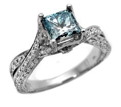 I want a blue diamond engagement ring. Just because I wanna be different