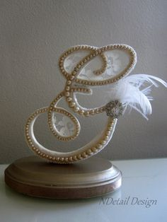 Great Gatsby themed Cake Topper: Monogram Pearl, Lace, Feather and Rhinestone Brooch Letter G