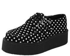 Suede (not Faux) Polka Dot Mondo Creepers by TUK Black and White Polka Dot Black Lace Detailing and Traditional D-Ring Styling Creeper sole is approximately 2 inches. Creepers are sold in Whole Polka Dot Shoes, Polka Dots, Crazy Shoes, Me Too Shoes, Sock Shoes, Shoe Boots, Flat Shoes, Platform Shoes, Heeled Boots