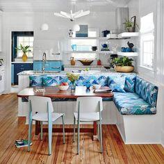 Retro-Inspired Dining Nook - Blue and White Beach House Decorating - Coastal Living #retrohomedecor