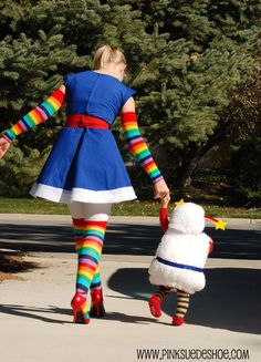 Rainbow Brite and her sprite Twink. Mother child costumes