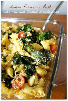 365 Days of Slow Cooking: Easy Meatless Dinner Recipe for Lemon Parmesan Pasta with Kale and Toasted Breadcrumbs