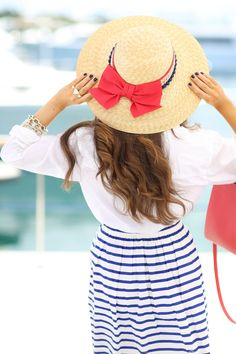 Love this red bow hat… July 4 outfit idea - Southern Curls & Pearls blog