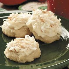 Coconut Clouds Recipe -Coconut lovers will have extra reason to celebrate when they taste these cake-like drop cookies. The generous frosting and coconut topping make them a hit at holiday cookie parties. —Donna Scofield, Yakima, Washington