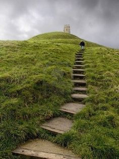 Glastonbury Tor, Somerset, England. Another site from the King Arthur legend (Isle of Avalon)
