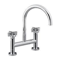 KITCHEN FAUCET - Kallista: One(TM) Deck-Mounted Bridge Kitchen Faucet, Cross Handles: P25202-CR