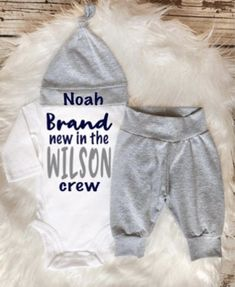 BABY BOY Coming Home Outfit newborn boy coming home outfit personalized baby shower gift new to the crew outfit baby boy gift clothes Cute Baby Boy, Baby Boy Gifts, Cute Baby Clothes, Personalized Baby Shower Gifts, Unique Baby Shower Gifts, Going Home Outfit, Take Home Outfit, Boys Summer Outfits, Baby Boy Outfits