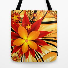 Golden Autumn Fractal Art Tote Bag by Gabiw Art | Society6 - printed Tote Bags with the Design on both Sides