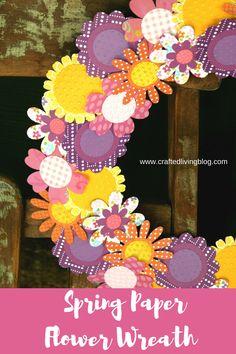 Spring Paper Flower Wreath #paperwreath #springdecor #springdiy #wreath #diytutorial