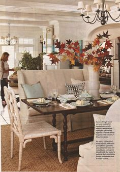 I love the white pumpkins on the blue plates.  From the Better Homes and Gardens November 2011 issue.