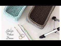 Penye İpten dikdörtgen sepet yapımı -2 - YouTube