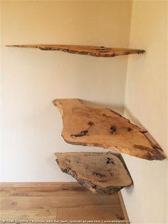 Boekenplanken van natuurlijk hout