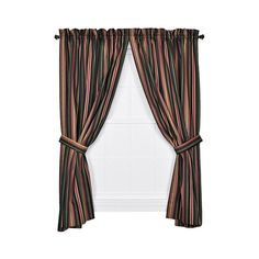Ellis Curtain Montego Stripe Black 63 x 82-Inch Panel Pair ($42) ❤ liked on Polyvore featuring home, home decor, window treatments, curtains, rod pocket curtains, striped curtains, black stripe curtains, patterned curtains and black curtain tie backs