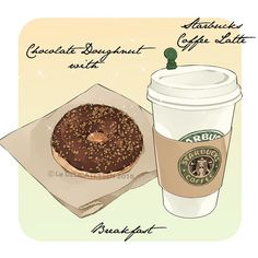 Chocolate doughnut w/ Starbucks coffee latte ~ Le Delicatessen