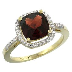 10K Yellow Gold Natural Garnet Ring Cushioncut 8x8mm Diamond Accent size 10 *** Want to know more, click on the image.