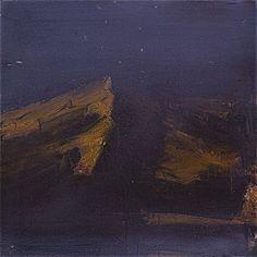 Ørnulf Opdahl: Nattsol, 80 x 80 cm Oslo, Scandinavian, Northern Lights, Miniatures, Mountains, Nature, Painting, Travel, Art