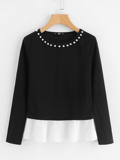 SheIn offers Pearl Beading Neck Contrast Trim Top & more to fit your fashionable needs. Fashion Clothes, Fashion Outfits, Trendy Clothing, Stylish Outfits, Latest T Shirt, Chiffon Ruffle, Black And White Colour, Winter Looks, Fall Winter