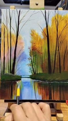 Canvas Painting Tutorials, Diy Canvas Art, Lake Painting, Forest Painting, Spring Painting, Paintings Of Nature, Scenery Paintings, Landscape Art, Canvas Painting Landscape