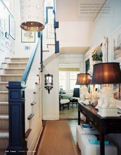 love this entry - black railing and newell post - sisal runner