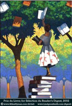 It's time to collect the flower books from the tree (illustration by Miles Hyman) I Love Books, Good Books, Books To Read, My Books, Reading Art, I Love Reading, Reading Books, Book Tree, Buch Design