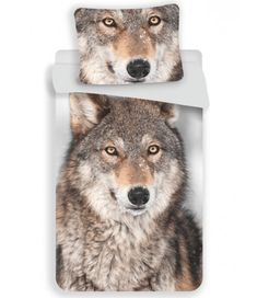 This Wolf single duvet cover set features a detailed photographic style print of a stunning wolf in natural tones of brown set against a pale grey backdrop. Made from 100% cotton. Free UK delivery available.