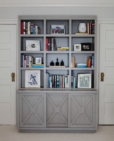 shelving bookcase with X detail grey home office