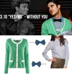 dress like blaine anderson #glee   H Cardigan (in Green) - $24.95  Forever 21 Striped Woven Shirt (in Blue/White) - $13.50  Forever 21 Chambray Bow Bobby Pins - $2.50