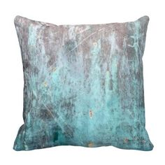 Weathered Turquoise Metal Throw Pillow