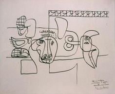 Amitiés aux amis, 1956 Planograms on gelatin matrix after an original drawing by Le Corbusier Dimensions: 0.474 m x 0.622 m Inscription : 35 rue de Sèvres / anniversaire 6 octobre / 56 / amitiés aux amis / Le Corbusier Paris. Fondation Le Corbusier