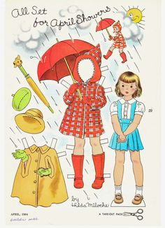 APRIL SHOWERS by Hilda Miloche 1964 Golden Magazine | 2014 Midwest Paper Doll Party | The Paper Collector